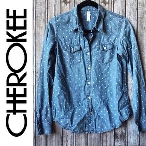 Cherokee • Polka Dot Button Down Top